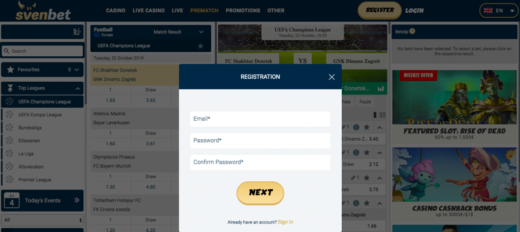 Svenbet-account-registeren